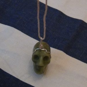 Jewelry - Jade Skull Pendant-Silver Color Wire Wrapped-Hemp